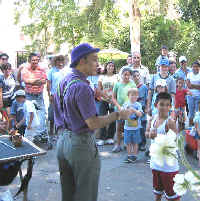 Magician Jersey Jim performs at the Los Angeles Zoo