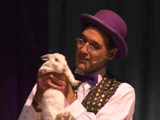 Magician Jersey Jim and Rocky the talking rabbit